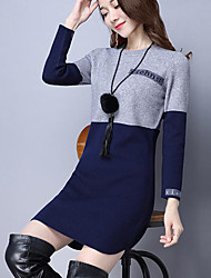 Sign new new winter long sweater knit dress women Slim round neck shirt letter