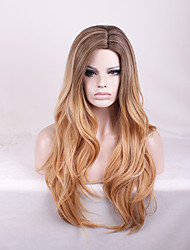 Sexy Brown Color with Dark Roots Synthetic Wig Heat Resistant Club Party Beauty Natural Wave Long Length Hairstyle
