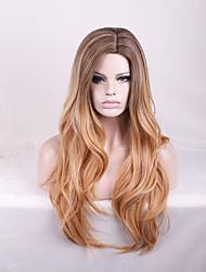 cor marrom sexy com raízes escuras calor peruca sintética resistente clube partido beleza natural da onda longa duração do penteado