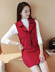 vestito segno marea femminile coreano temperamento pezzo gonna camoscio rosso 2016 moda autunno