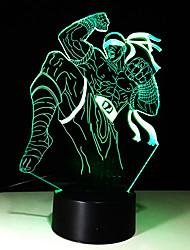 1шт сенсорный 7-цветной воин светодиодные лампы 3d светлого цвета видение стерео красочный градиент акриловой лампы ночного видения света
