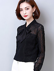 Real shot lace shirt female long-sleeved shirt 2017 spring Korean version of the solid color bow tie wild bottoming shirt
