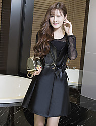 Sign leather skirt suit two-piece dress with belt