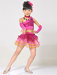 Latin Dance Outfits For Girls Children's Performance Polyester Sequins Tassels Splicing 5 Pieces Sleeveless High Top Skirt Bracelets