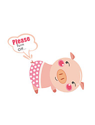 Wall Stickers Wall Decals Style Lovely Pig Switch PVC Wall Stickers