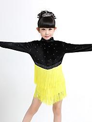 Latin Dance Dresses Children's Performance Velvet Crystals/Rhinestones Tassel(s) 1 Piece Long Sleeve Natural Dress