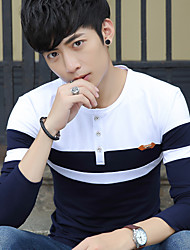 koreanische Version von Frühjahr 2017 Männer&# 39; s Rundhals Langarm-T-Shirt Männer nähen dünnen Männer Hemd grundiert Student