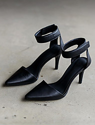 Women's Heels Spring PU Dress Low Heel Buckle Black