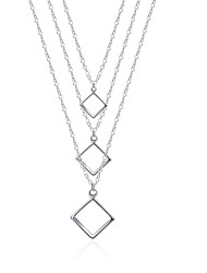 XU Women's Fashion Three Lines And Three Squares Geometric Shape Pendant