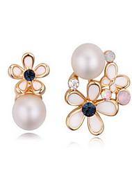 Da donna Orecchini a goccia Cristallo Perle Natura bigiotteria Mancata corrispondenza Cristallo austriaco Lega A forma di fiore A croce