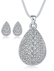 Jewelry 1 Necklace 1 Pair of Earrings Crystal AAA Cubic Zirconia Wedding Party Special Occasion Daily Casual Crystal Alloy Cubic Zirconia
