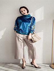 unterzeichnen extrem dick hohen Kragen Retro Pfau blauen Samt gestickt Pullover Frühjahr Modelle weiblichen Spot