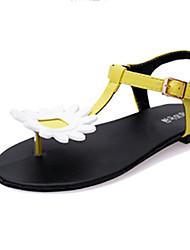 Sandals Summer Comfort PU Casual Flat Heel Flower Yellow White