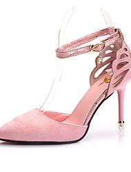 Черный Розовый Серый Цвета шампанскогоПовседневный-Полиуретан-На шпильке-С Т-образной перепонкой-Обувь на каблуках