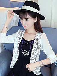 Going out Casual/Daily Beach Sexy Simple Cute Jacket,Solid Round Neck Long Sleeve Spring Summer Machine wash Others Regular