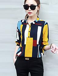 Women's Casual/Daily Street chic Spring Fall Shirt,Geometric Shirt Collar Long Sleeve Polyester Medium