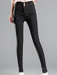 Skinny Chinos Pants,Casual/Daily Simple Solid High Rise Elasticity Spandex Stretchy Spring Summer
