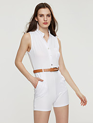Women Casual Candy Color Rompers Short Jumpsuit  V-neck Sleeveless Playsuit One Piece Bodysuits with Belt