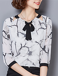 Fashion V Collar 3 / 4Sleeve Chiffon Printing Upper Outer Garment Daily Leisure Party Dating Occupation OL Shirt