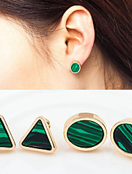 Round Triangle Stud Earrings Jewelry Wedding Party Daily Casual Alloy Turquoise 1 pair Silver