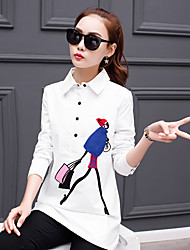 Long-sleeved white shirt female Korean Fan loose wild 2017 spring Korean long paragraph shirt
