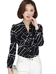 Women's  V Neck Plus Size Geometric Print OL Career Work Chiffon Blouse Long Sleeve Shirt