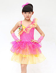 Latin Dance Dress For Girls Children's Performance Polyester Splicing 4 Pieces Sleeveless High Ballet Dance Dress Headpieces Bracelets