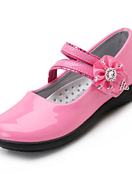 Sandals Spring Summer Flower Girl Shoes Patent Leather Wedding Party & Evening Casual Low Heel Hook & Loop Black Pink White