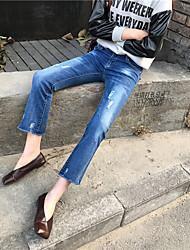 Zeichen ~ 2017 Frühlingsmodelle retro schlank war dünner Grate Mikroschlaghosen Jeans neun Punkte strecken