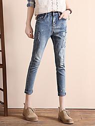 signer nouvelle version coréenne de l'afflux des femmes en vrac jeans brodés mince était mince pantalon sarouel 1005 #