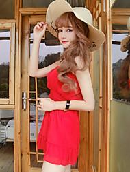2017 весной и летом новая корейская версия небольшой ароматный ветер тройник платье шифоновое женской талии был тонкий дикий 0679