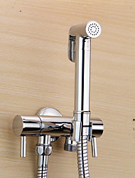 Bidet Faucets  ,  Modern  with  Chrome Two Handles One Hole  ,  Feature  for Wall Mount Pull out