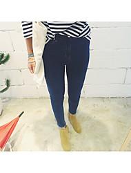 ordens Coreia do Sul ultra-fina minimalistas calça jeans cor sólida esticar rebentamento modelos pés de jeans primavera feminino e verão