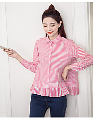 Ms. Spring 2017 College Wind shirt cotton striped shirt female pearl buckle