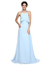 LAN TING BRIDE Sweep / Brush Train Halter Bridesmaid Dress - Beautiful Back Sleeveless Chiffon