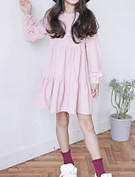 Girl's Solid Dress,Cotton Summer Long Sleeve