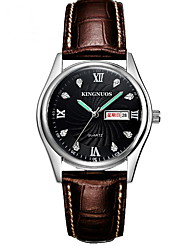 Men's Fashion Watch Quartz Calendar Water Resistant / Water Proof Noctilucent Leather Band Cool Casual Black Brown Brand