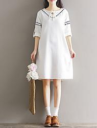 modelos del resorte del arte de la venta del vestido del algodón del cuello de encaje bordado redondo retro