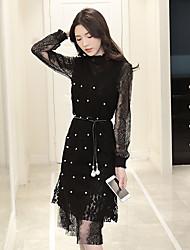 Signe 2017 printemps nouveau femmes coréennes v-cou robe de dentelle perlée deux pièces robe gilet