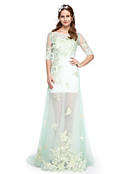 Formal Evening Dress - Two Pieces A-line Jewel Floor-length Lace Tulle with Appliques Pleats