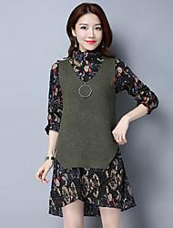 Two-piece skirt spring models tide Korean temperament loose chiffon dress 2017 Korea knit