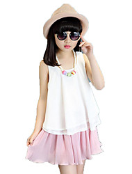Casual/Daily Beach School Solid Sets,Cotton Polyester Summer Sleeveless Clothing Set