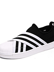 Men's Fashion Sneakers Casual Shoes Comfort Tulle Athletic Shoes Flat Heel Lace-up Black / White