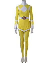 Fantasias de Cosplay Festa a Fantasia Super-Heróis Fantasias Cosplay de Filmes Branco Amarelo GeométricaBlusa Calças Luvas Cinto Mais