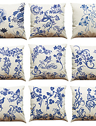 Set of 9 Chinese style blue and white pattern Linen Pillowcase Sofa Home Decor Cushion Cover
