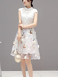 Mujer Línea A Vestido Noche Simple,Estampado Escote Chino Sobre la rodilla Manga Corta Blanco Poliéster Verano Tiro Medio Rígido Medio