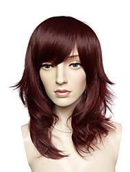capless auburn qualité supérieure perruque côté coiffure mi-longue en fibre synthétique bangs partie
