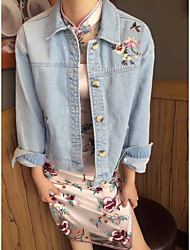 Women's Embroidery Casual/Daily Street chic Spring Fall Denim Jacket,Print Shirt Collar Regular Cotton Others