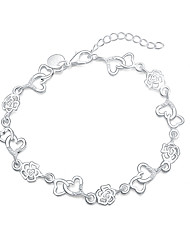 Women's Charm Bracelet Silver Plated Fashion Heart Heart Cut Silver Jewelry 1pc