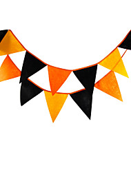2.8m 12Flags Orange And Black Banner Pennant Nonwoven Fabric Bunting Banner Booth Props Photobooth Halloween Party Decoration